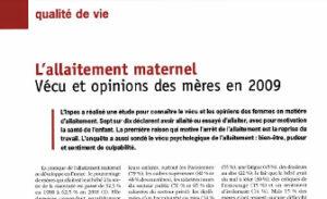 L'allaitement maternel: vécu et opinions des mères – Enquête menée en France auprès de 1000 mères par l'INPES en 2009