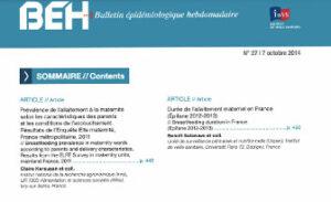 BEH (Bulletin Epidémiologique Hebdomadaire, INVS) 2014: Prévalence de l'allaitement maternel à la maternité, résultats de l'enquête ELFE